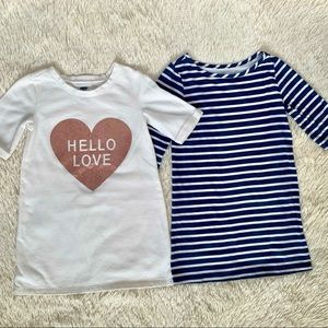 2 Old Navy Dresses•Glitter Heart/Striped•Size 5T